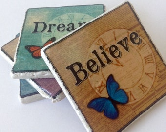 Inspirational Coasters - Motivational - Dream - Believe - Inspire - Faith - Housewarming - Home Decor - Set of 4