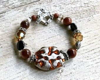 Silver and Amber Bohochic Statement Beaded Bracelet Animal Print   Glass Crystal For Her Under 150, Mom Wife Sister Cool Gift OOAK Unique