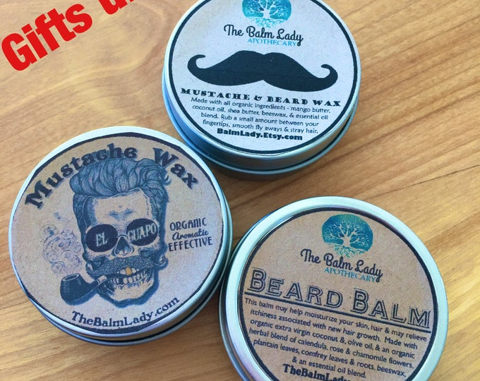 Mustache Wax and Beard Balm Sample Gift Pack | Beard and Mustache Wax | Men's Gift Set | Beard Mustache Grooming, hair wax, styling