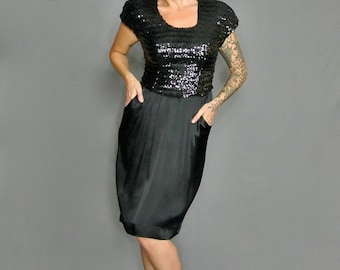 Vintage 80s Little Black Sequins Coctail Dress with Pockets (Taurus Nites)