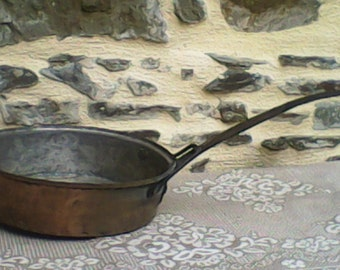 Antique Large Copper Saute Pan