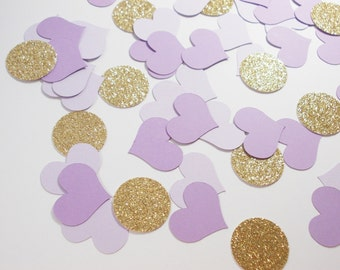 "Gold Glitter & Lavender Purple Heart Confetti, Circle Confetti Party Decoration, 80 CT, 1.25"",  Ships in 2-3 Business Days"