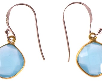 Silver earrings diamond stone gold plated light blue calcite, 925 sterling silver faceted earrings (No. OSG-62)