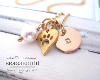 Hand Stamped Necklace -  14K Gold Paw Print Jewelry - Little Charmer (Paw Print Charm)