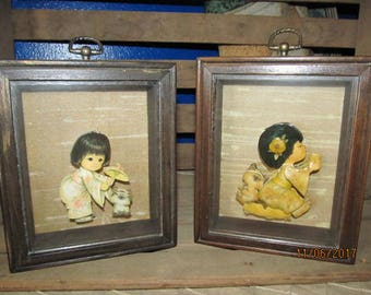 Set of 2 Vintage Hand Made 3d Art Shadow Box Art- Little Oriental Japanese Chinese Girl with Kitten Pair