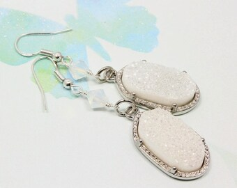 Oval White Druzy Earrings, Bridal Earrings, Druzy Earrings, White Druzy, Swarovski Crystals