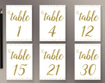 Wedding Table Numbers 1-30 Printable, Gold confetti  Table Numbers, Gold Wedding Décor, Reception table numbers gold 5x7, Wedding Printables