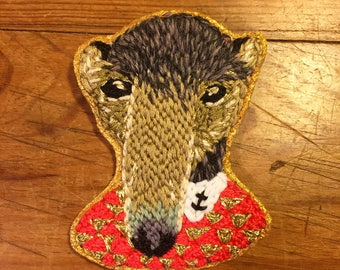 Dressed anteater brooch, embroidery, handmade.