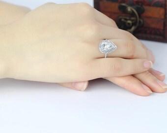 2 carat dpible halo pear cut diamond stimulant ring