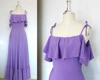 Amethyst purple off the shoulder Ruffle Dress 1970's