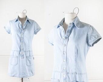 Vintage Denim Dress, 80s Light Blue Denim Club Dress, Club Wear, Blue Jean Dress, Size XS to S