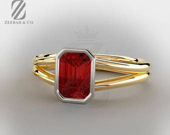Emerald Cut Red Ruby Engagement Ring - Solitaire Ring - 14K Yellow & White Gold - Anniversary Ring - Wedding Ring - Promise Ring