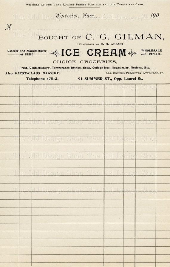 Vintage Accounting Ledger Page Printable Ephemera Gilman Ice