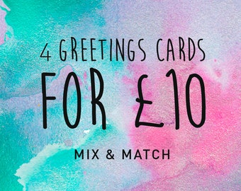 4 Greetings Cards Mix & Match Offer