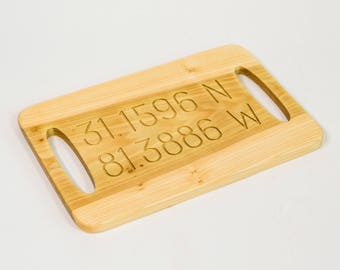 Engraved Latitude Longitude Poplar Wooden Tray with Open Handles, All Lat and Lo available