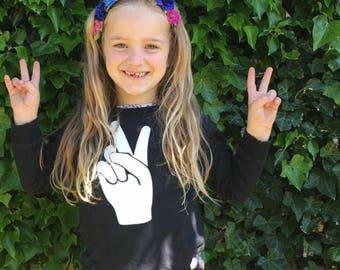 PEACE kids sweater - sweatshirt - peace hand sign