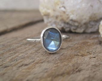 Labradorite Ring, Statement Ring, Stacking Ring, Gift for Her, Cocktail Ring, Sterling Silver Ring, Boho Ring, Bohemian Jewelry