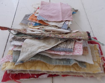 25 Small PRIMITIVE Tattered Old Vintage Cutter QUILT Block Pieces Sew Crafts Create Art Collage Textile  Smalls Inspiration Bundle