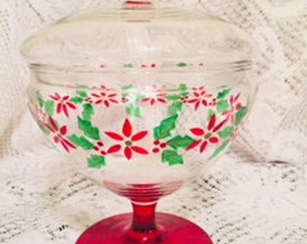Hand painted/blown Holiday Glass Pedestal Candy Dish