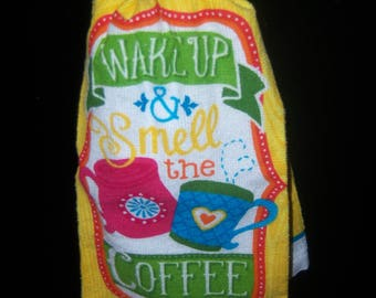KitchenTowel with Topper Wake up and smell the Coffee Hanging
