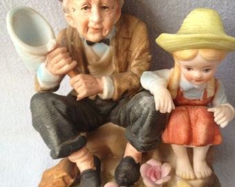 Brinn's Figurine Old Man and Girl Catching Butterflies, Brinn's Pittsburgh PA Figurine, Country Figurine, Japan Porcelain Bisque Figurine,
