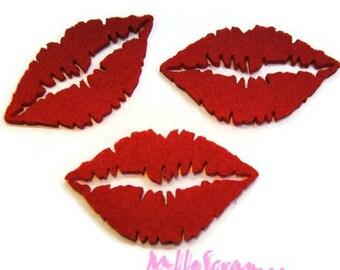 Set of 3 red felt lips embellishment scrapbooking card making *.
