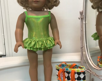 American made double ruffle Suncatcher Swimsuit/ bag and sandals  made to fit 18 inch dolls such as American Girl /Pistachio