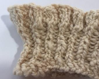 Eyelet Ruffle Boot Cuffs. Hand Made, Hand Spun, Hand Knitted, Self Designed, Locally Resourced. Brown, Coffee, Ecru, Beige. Wool.