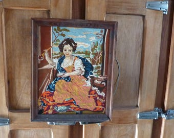 french needlepoint tapestry vintage canvas tapestry girl with bubble from MIGNARD P.