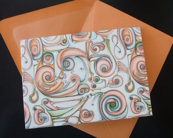 4 Bar Blank Note Cards - Rossi Scrolls - (Set of 10)