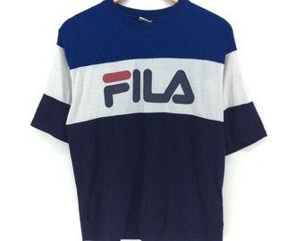Vintage Fila Shirt Big Logo Block Color Medium Size Rap Tees Hip Hop Swag