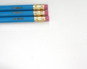 i love math engraved pencil set of three in aqua blue. Back to school gifts for mathletes!
