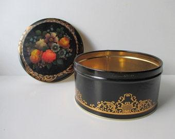 Vintage Black Floral Decorative TIN- Made in ENGLAND, gold