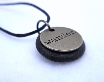 Wander Necklace, Inspirational word Jewelry, Polymer Clay Word Pendant