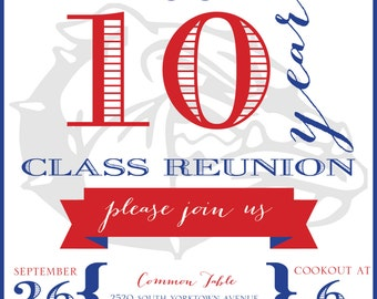 10 Year High School Reunion Invitation