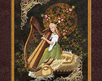 dragon and harpist, dragon print, dragon art, harpist and dragon, dragon wall art, sleeping dragon, Harpist art