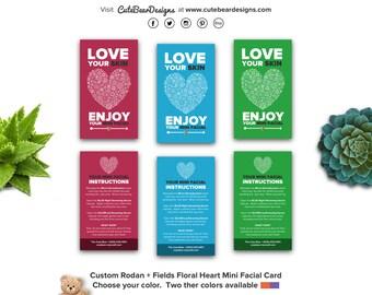 Custom R+F Floral Heart Mini Facial Card (choice of color)