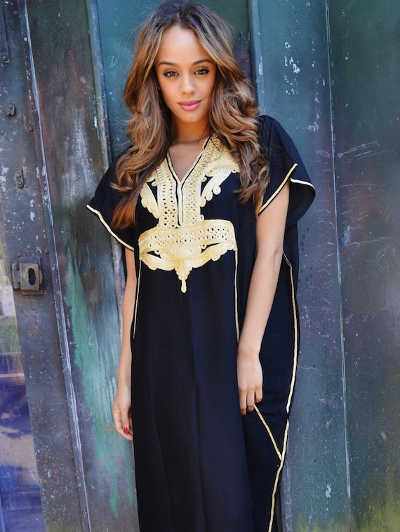 Set of 7 Bridesmaid robes,Bridesmaid gifts, Black Gold Marrakech One Size Moroccan Kaftan-Beach wedding, bridal shower party, baby shower