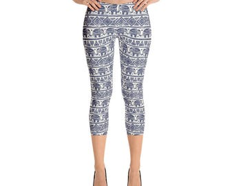 Temple Pillars Capri Leggings Indian Elephants Exotic Indian Traditional Yoga Pants Blue Indigo White