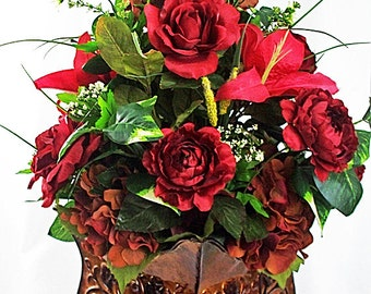 Small silk vase floral arrangement centerpiece small rose red flower arrangement red silk floral arrangements red wedding centerpiece red artificial flowers mightylinksfo Choice Image