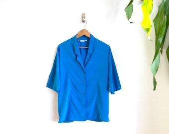 Vintage Royal Blue Blouse / Boxy Secretary Blouse / Bright Blue Slouchy Top / Bold Vintage Plus Size Blouse