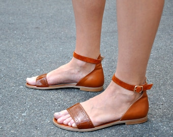 Sobe - Oxford Sandals, Womens Sandals, Handmade Sandals, Leather Sandals, Flat Sandals, Brown Sandals, Summer shoes, FREE customization!!!