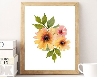 Wildflower Bouquet Art Print Floral Decor Flower Bouquets Wildflowers Wall Art Minimal Wall Decor Ready to Frame Prints