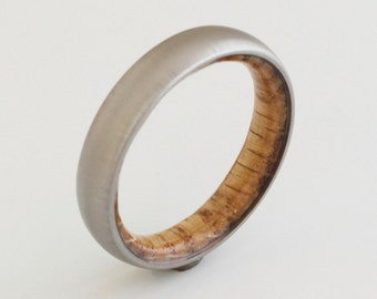titanium Whiskey Barrel ring // wood ring // mens wood ring // wood wedding band // mens wedding ring // her him ring