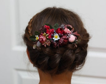 Burgundy pink flower comb Floral comb Flower accessories Bridal Bridesmaid headpiece Burgundy wedding Hair comb Outdoor wedding