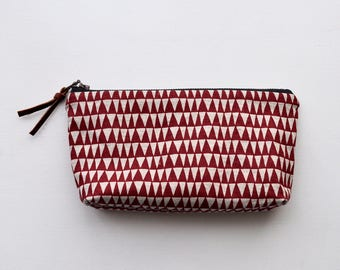 Hand Screen Printed Linen cotton Zipper Pouch