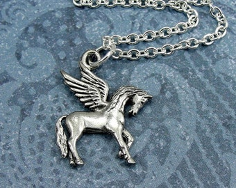 Pegasus Necklace, Silver Plated Pegasus Charm on a Silver Cable Chain