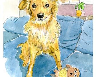 """Watercolor Portrait Commission 9"""" by 12"""""""