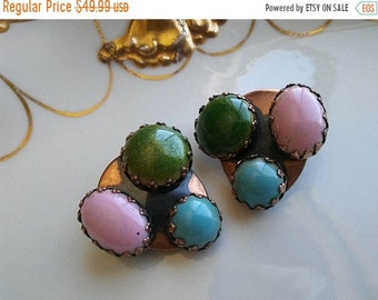 ON SALE Signed MATISSE Vintage Copper & Green, Aqua Pink Earrings * Old Hollywood Glam * Retro Rockabilly  * Statement Jewelry