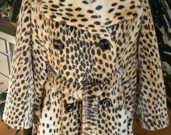 Imported animal print faux fur coat / jacket / vintage / retro / outerwear / leopard print/ vegan fur